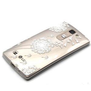 Priehľadný gélový obal na LG G4c - biela púpava - 2