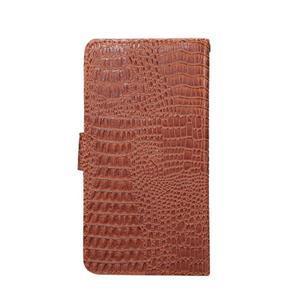 Crocodile PU kožené výsuvné univerzálne puzdro na telefóny do rozmeru 14,5 x 7,5 x1,8 cm - hnedé - 2