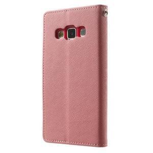 Diary PU kožené puzdro na Samsung Galaxy A3 - ružové - 2