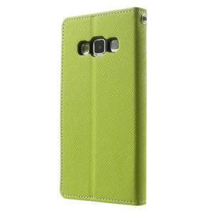 Diary PU kožené puzdro na Samsung Galaxy A3 - zelené - 2