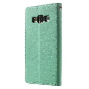 Diary PU kožené puzdro na Samsung Galaxy A3 - cyan - 2
