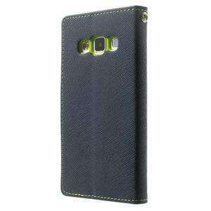 Diary PU kožené puzdro na Samsung Galaxy A3 - tmavomodré - 2