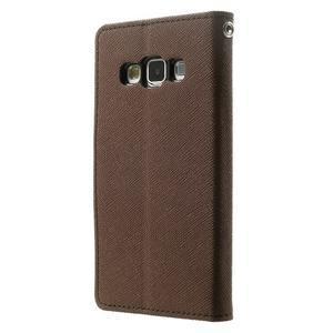 Diary PU kožené puzdro na Samsung Galaxy A3 -hnedé - 2
