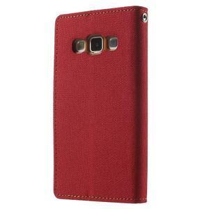 Luxury textilné / koženkové puzdro na Samsung Galaxy A3 - červené - 2