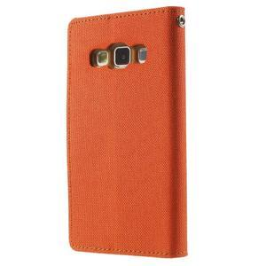 Luxury textilné / koženkové puzdro pre Samsung Galaxy A3 - oranžové - 2