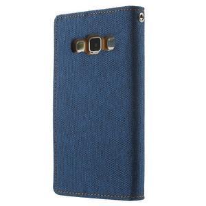 Luxury textilné / koženkové puzdro pre Samsung Galaxy A3    - modré - 2