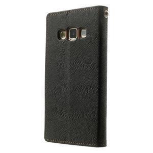 Diary PU kožené puzdro na Samsung Galaxy A3 - čierne/hnedé - 2