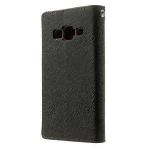 Fancy PU kožené puzdro pre Samsung Galaxy Core Prime - čierne/hnedé - 2