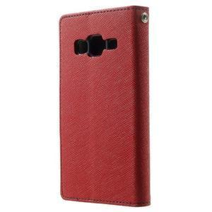 Fancy PU kožené pouzdro na Samsung Galaxy Core Prime - červené - 2