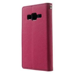 Fancy PU kožené puzdro pre Samsung Galaxy Core Prime - rose - 2