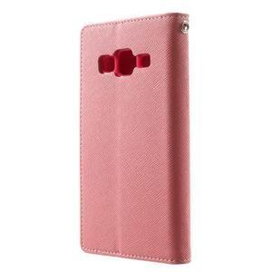 Fancy PU kožené puzdro pre Samsung Galaxy Core Prime - ružové - 2