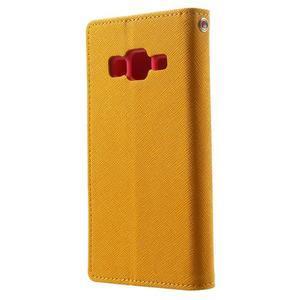 Fancy PU kožené puzdro pre Samsung Galaxy Core Prime - žlté - 2