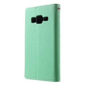 Fancy PU kožené pouzdro na Samsung Galaxy Core Prime - azurové - 2