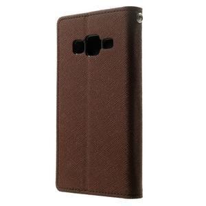Fancy PU kožené pouzdro na Samsung Galaxy Core Prime - hnědé/černé - 2