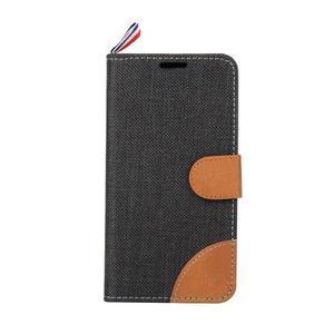 Jeans textilní/koženkové pouzdro na Samsung Galaxy Core Prime - černé - 2