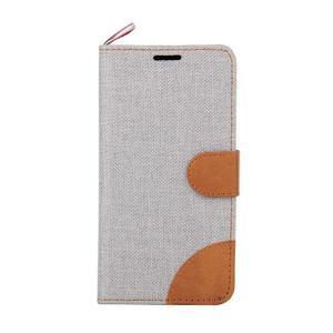 Jeans textilné/koženkové puzdro pre Samsung Galaxy Core Prime - šedé - 2