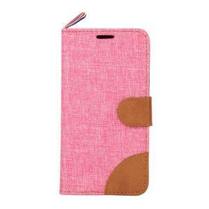 Jeans textilní/koženkové pouzdro na Samsung Galaxy Core Prime - růžové - 2