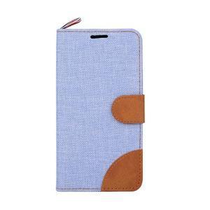 Jeans textilné/koženkové puzdro pre Samsung Galaxy Core Prime - svetlo modré - 2