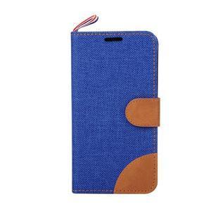 Jeans textilné/koženkové puzdro pre Samsung Galaxy Core Prime - modré - 2