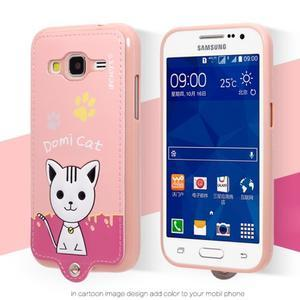 Kočička Domi obal na mobil Samsung Galaxy Core Prime - růžový - 2