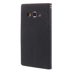 Diary PU kožené puzdro pre mobil Samsung Galaxy Grand Prime - čierne/hnedé - 2