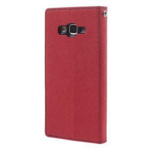 Diary PU kožené puzdro na mobil Samsung Galaxy Grand Prime - červené - 2