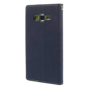 Diary PU kožené puzdro pre mobil Samsung Galaxy Grand Prime - tmavomodré - 2