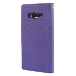 Diary PU kožené puzdro na mobil Samsung Galaxy Grand Prime - fialové - 2