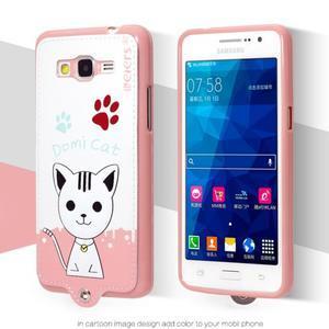 Mačička Domi s PU koženým chrbtom pre Samsung Galaxy Grand Prime - biela - 2
