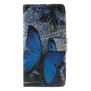 Wallet PU kožené puzdro na mobil Samsung Galaxy Grand Prime - modrý motýľ - 2