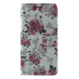 Wallet PU kožené puzdro pre mobil Samsung Galaxy Grand Prime - kvietky - 2