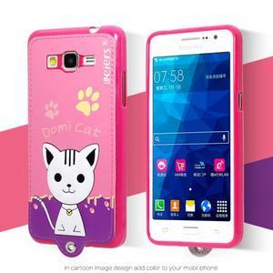 Mačička Domi s PU koženými chrbtom na Samsung Galaxy Grand Prime - rose - 2