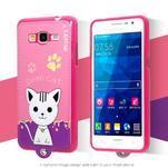 Mačička Domi s PU koženými chrbtom na Samsung Galaxy Grand Prime - rose - 2/2