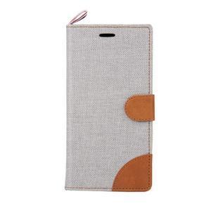 Jeans koženkové / textilné puzdro pre Samsung Galaxy Grand Prime - šedé - 2