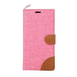 Jeans koženkové / textilné puzdro pre Samsung Galaxy Grand Prime - ružové - 2