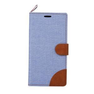 Jeans koženkové / textilné puzdro pre Samsung Galaxy Grand Prime - svetlomodré - 2