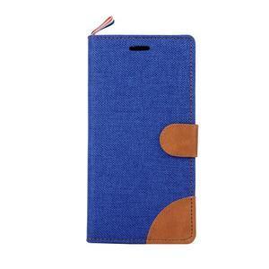 Jeans koženkové / textilné puzdro pre Samsung Galaxy Grand Prime - modré - 2