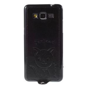 Mačička Domi kryt s PU koženými chrbtom pre Samsung Galaxy Grand Prime - čierny - 2