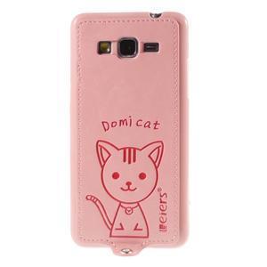 Mačička Domi kryt s PU koženým chrbtom pre Samsung Galaxy Grand Prime - ružový - 2