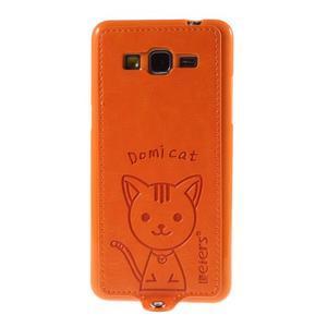 Mačička Domi kryt s PU koženým chrbtom pre Samsung Galaxy Grand Prime - oranžový - 2