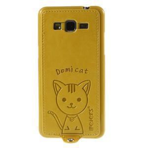 Mačička Domi kryt s PU koženým chrbtom pre Samsung Galaxy Grand Prime - žltý - 2