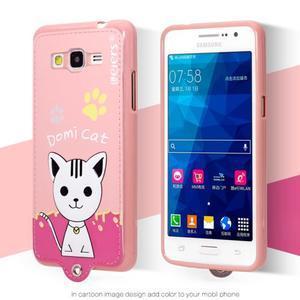 Mačička Domi s PU koženými chrbtom na Samsung Galaxy Grand Prime - ružová - 2
