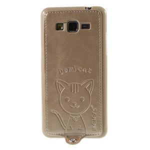 Mačička Domi kryt s PU koženým chrbtom pre Samsung Galaxy Grand Prime - zlatý - 2