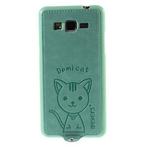 Mačička Domi kryt s PU koženými chrbtom pre Samsung Galaxy Grand Prime - cyan - 2