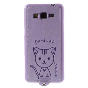 Mačička Domi kryt s PU koženými chrbtom pre Samsung Galaxy Grand Prime - fialový - 2