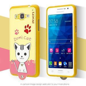 Mačička Domi s PU koženým chrbtom pre Samsung Galaxy Grand Prime - žltá - 2