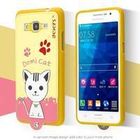 Mačička Domi s PU koženými chrbtom na Samsung Galaxy Grand Prime - žltá - 2/2