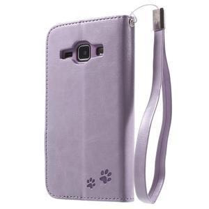 Koženkové puzdro s mačičkou Domi na Samsung Galaxy J1 - fialové - 2