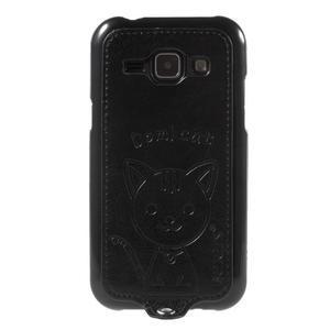 Obal s koženkovým chrbtom a mačičkou Domi pre Samsung Galaxy J1 -  čierne - 2