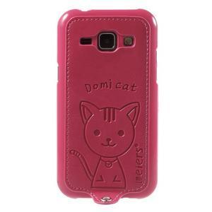 Obal s koženkovým chrbtom a mačičkou Domi pre Samsung Galaxy J1 -  magneta - 2